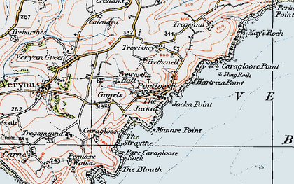 Old map of Portloe in 1919