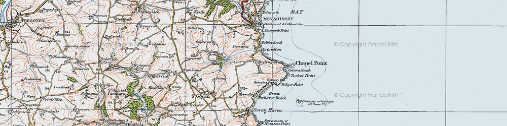 Old map of Portmellon in 1919