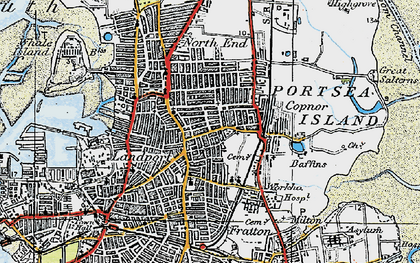 Old map of Portsea Island in 1919