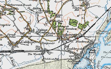 Old map of Portskewett in 1919