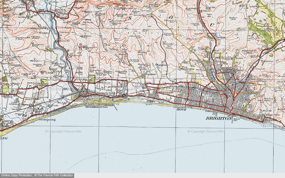 Old Map of Portslade-By-Sea, 1920 in 1920