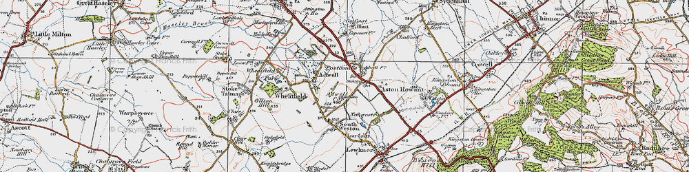 Old map of Adwell Cop (Mound) in 1919