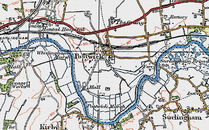 Old map of Whitlingham Marsh in 1922