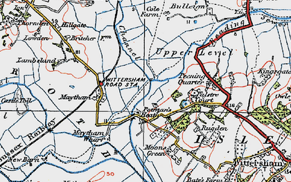 Old map of Wet Level in 1921