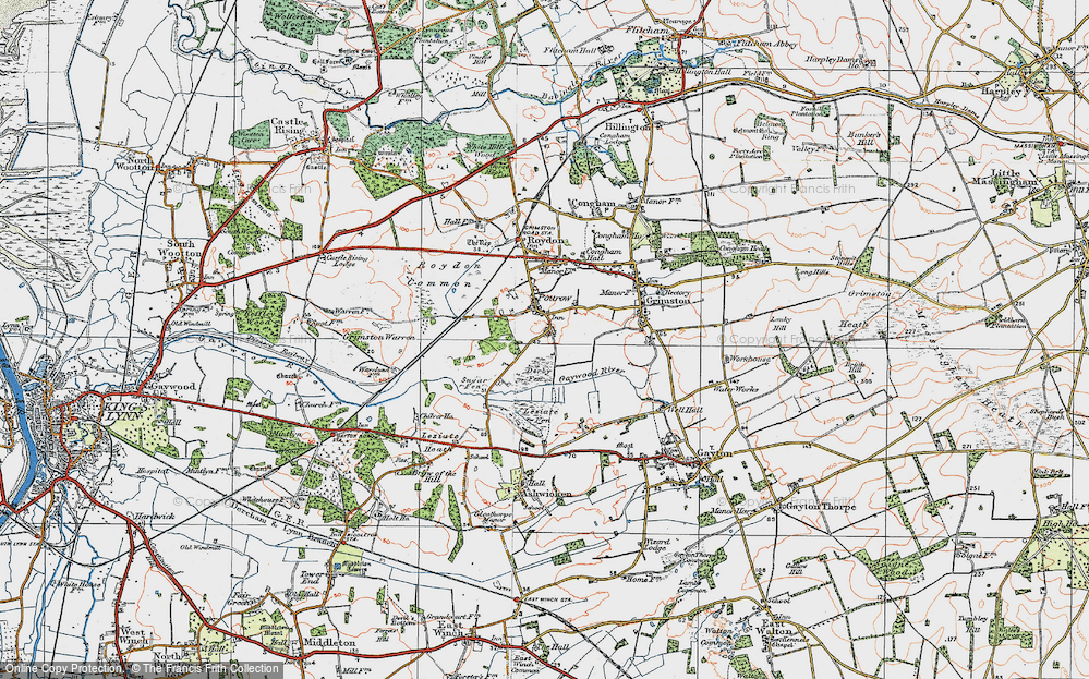 Old Map of Historic Map covering Leziate Fen in 1921