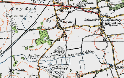 Old map of Leziate Fen in 1921