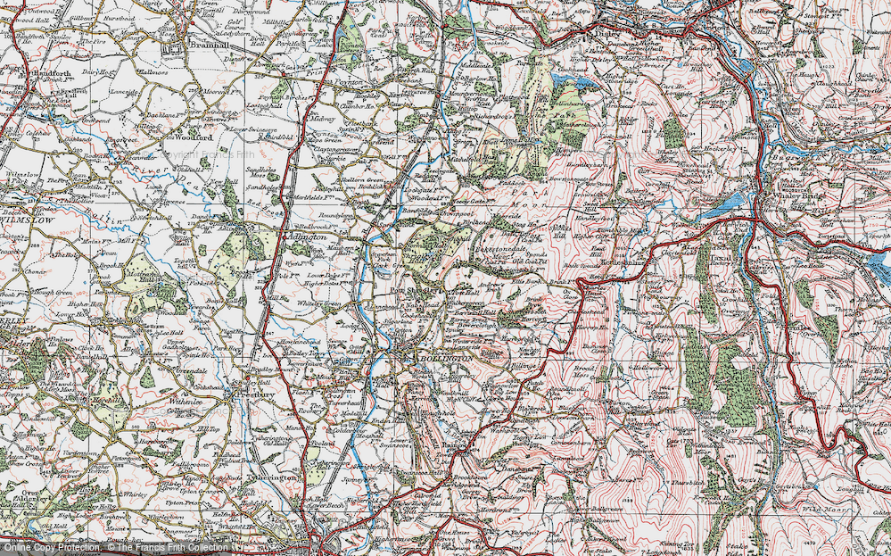 Old Map of Historic Map covering Bakestonedale Moor in 1923