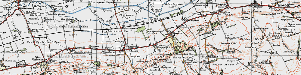 Old map of Allison Wold Fm in 1925
