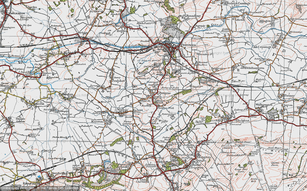 Old Map of Potterne, 1919 in 1919