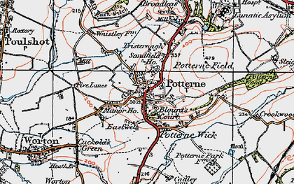 Old map of Potterne in 1919