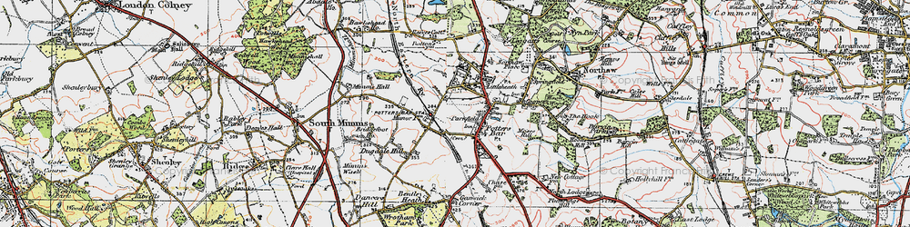 Old map of Potters Bar in 1920