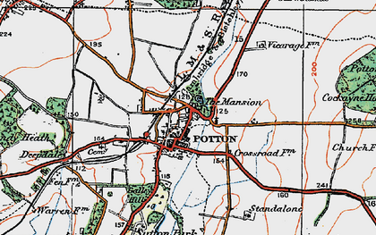 Old map of Potton in 1919