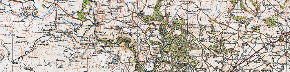 Old map of Aish Tor in 1919