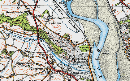 Old map of Powderham in 1919