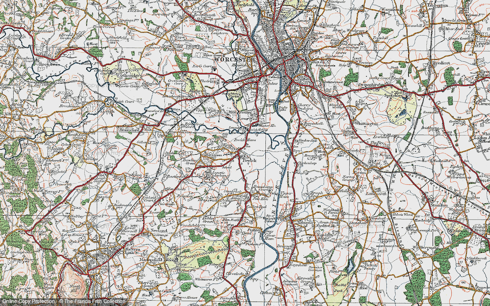 Old Map of Powick, 1920 in 1920