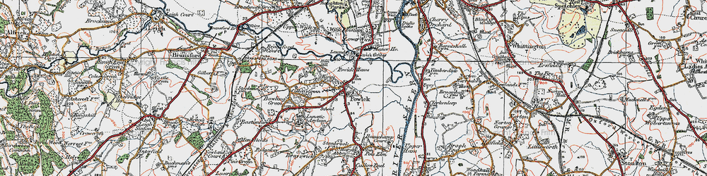 Old map of Powick in 1920