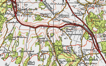 Old map of Pratt's Bottom in 1920