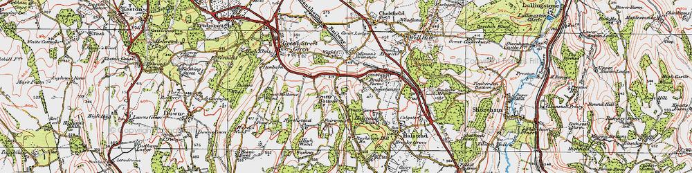 Old map of Pratt's Bottom in 1920