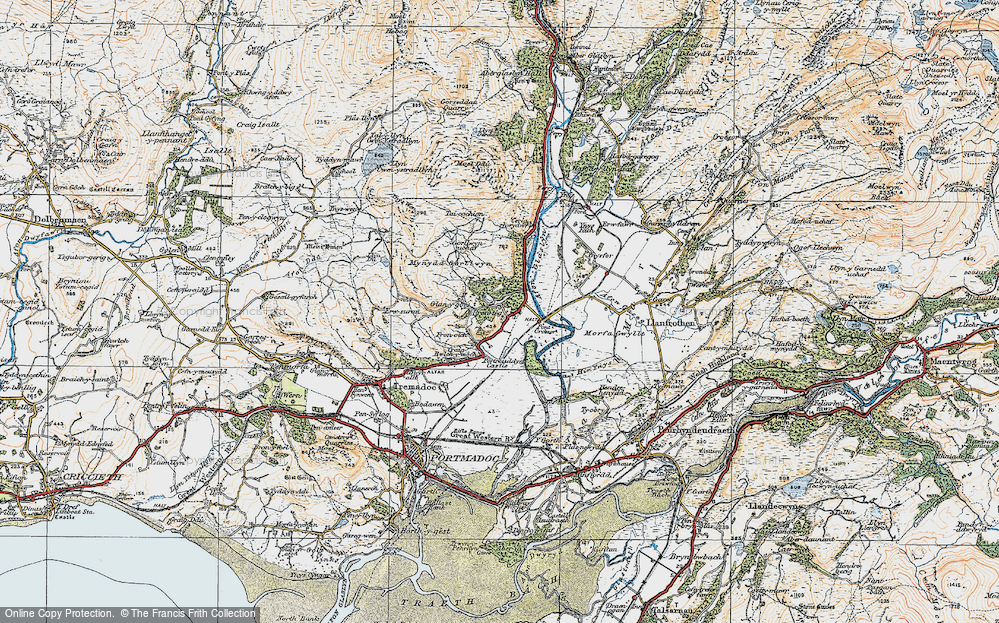 Old Map of Historic Map covering Afon Glaslyn in 1922