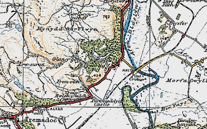 Old map of Afon Glaslyn in 1922