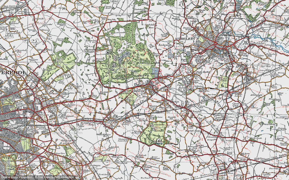 Old Map of Prescot, 1923 in 1923