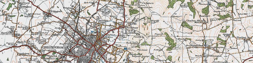 Old map of Prestbury in 1919