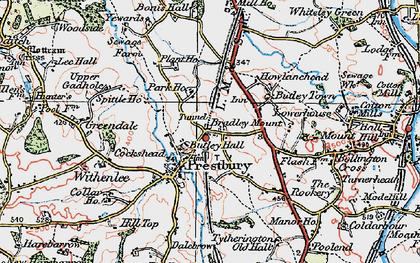 Old map of Prestbury in 1923