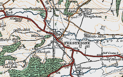 Old map of Presteigne in 1920