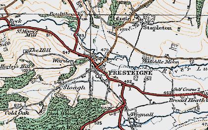Old map of Presteigne in 1920