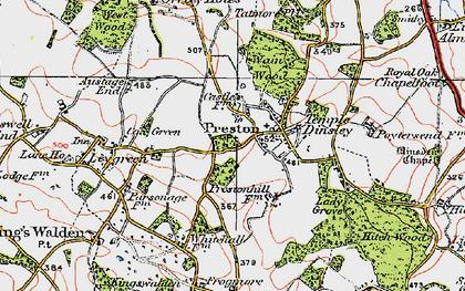 Old map of Preston in 1920