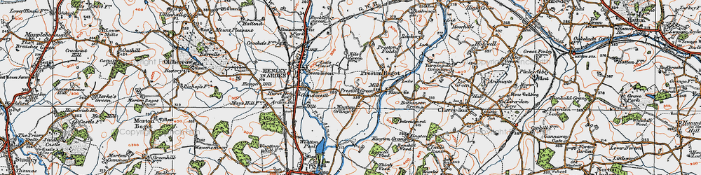 Old map of Wootton Grange in 1919