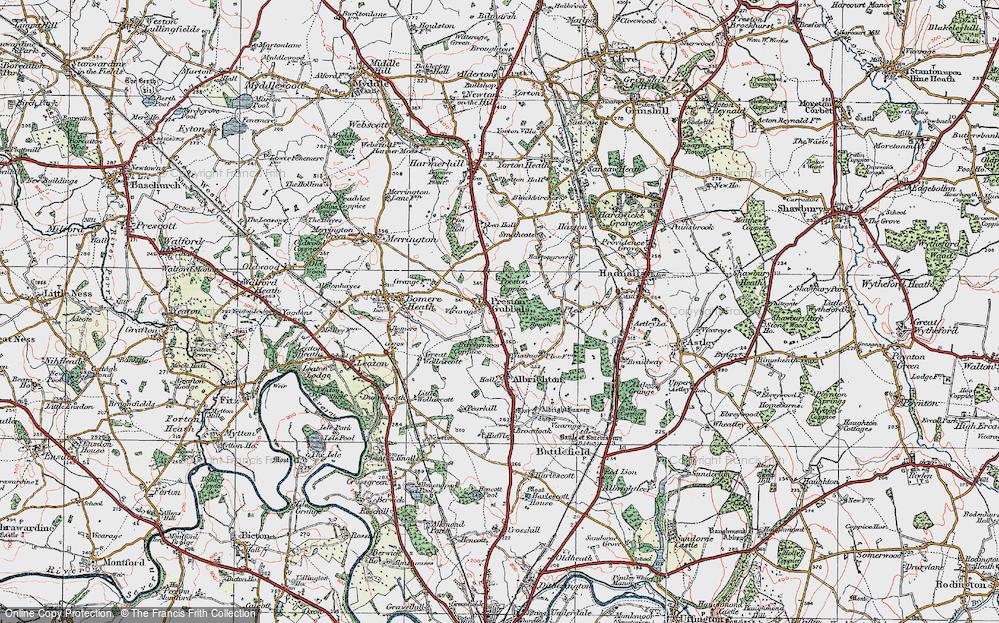 Old Map of Preston Gubbals, 1921 in 1921