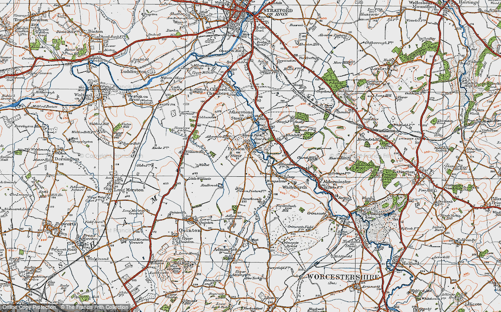 Old Map of Preston on Stour, 1919 in 1919