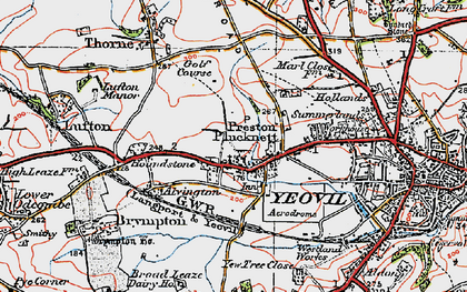 Old map of Preston Plucknett in 1919