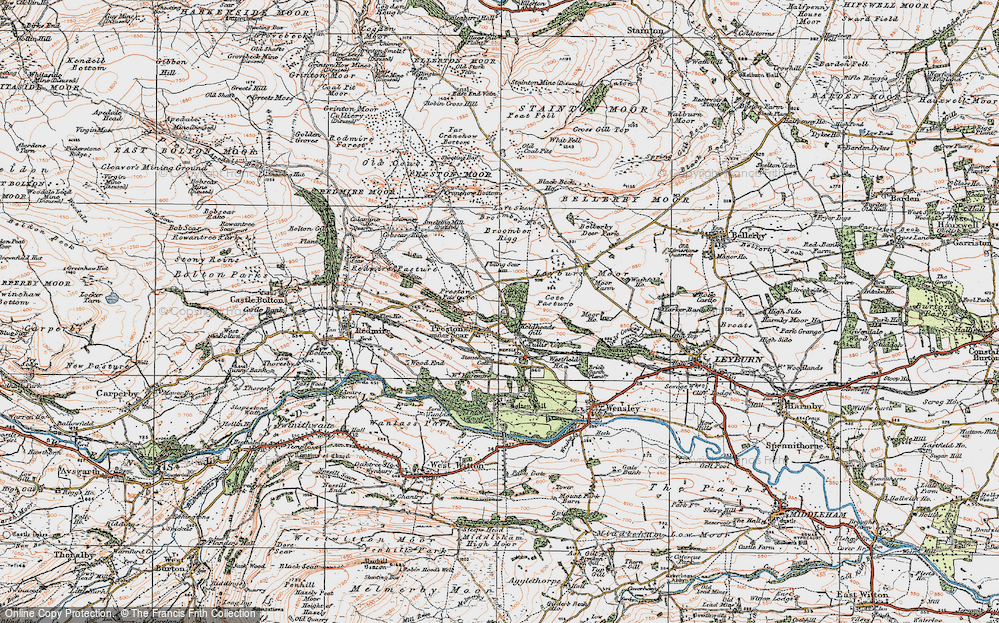 Old Map of Historic Map covering Layburn Moor in 1925