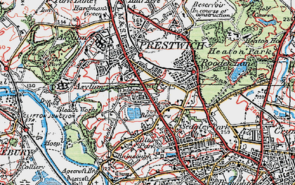 Old map of Prestwich in 1924