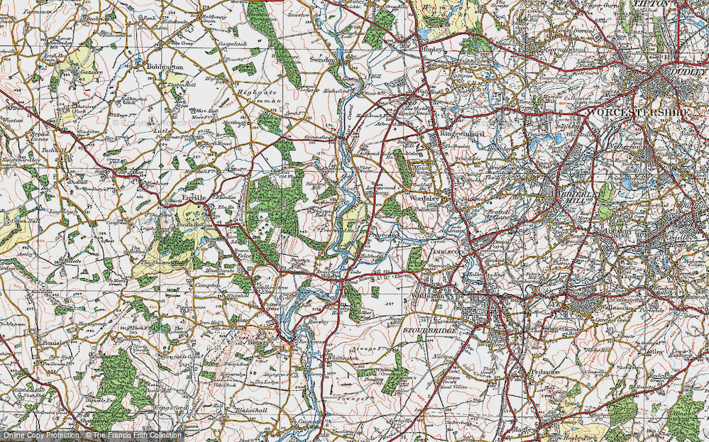 Old Map of Historic Map covering Lawns Wood in 1921