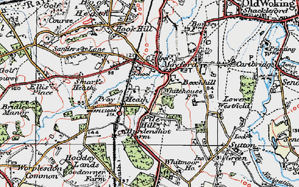 Old map of Worplesdon Sta in 1920