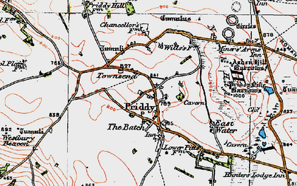 Old map of Priddy in 1919