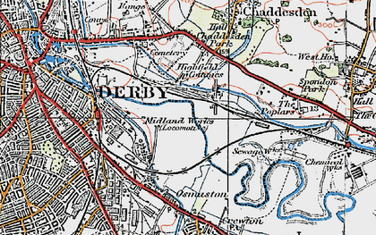 Old map of Pride Park in 1921