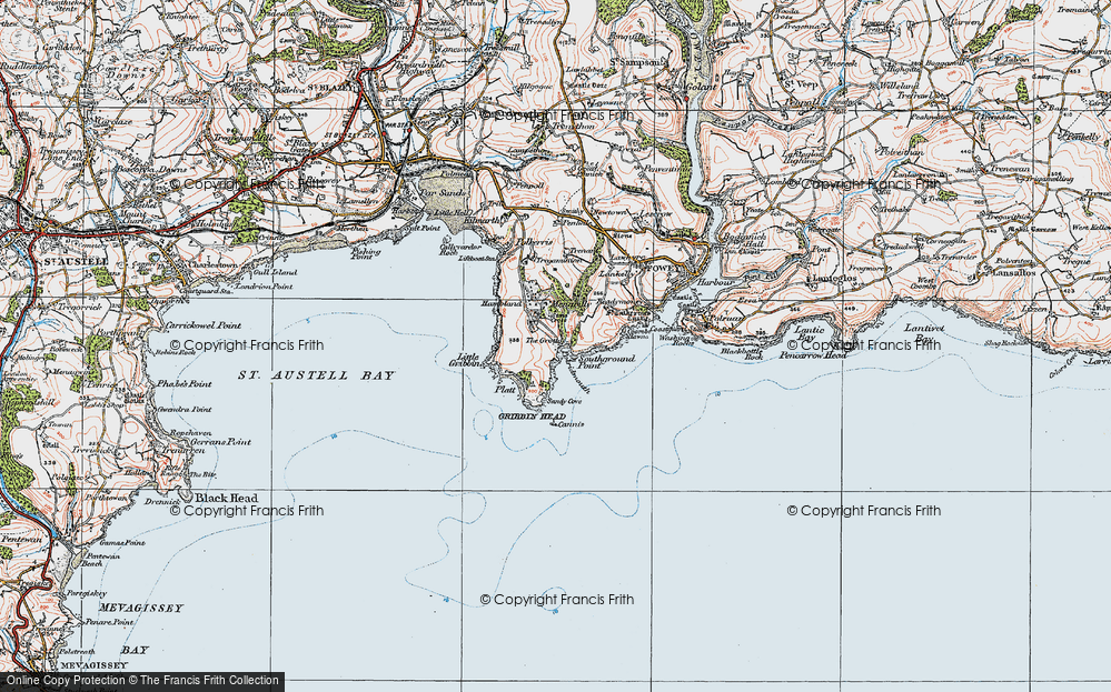 Old Map of Pridmouth, 1919 in 1919
