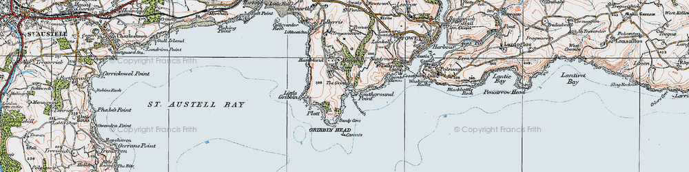 Old map of Pridmouth in 1919