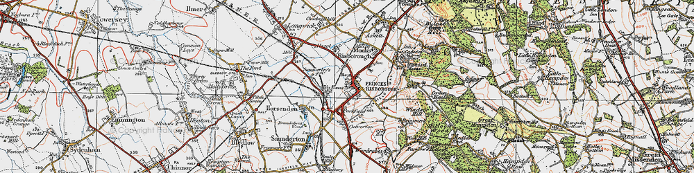 Old map of Princes Risborough in 1919