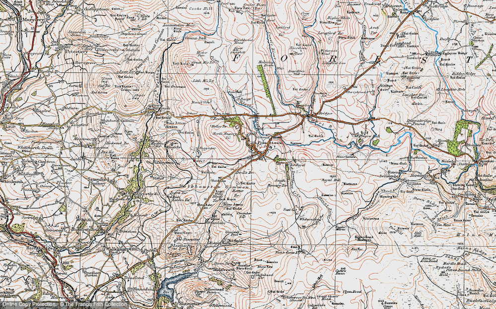Old Map of Historic Map covering Leeden Tor in 1919