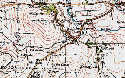 Old map of Leeden Tor in 1919