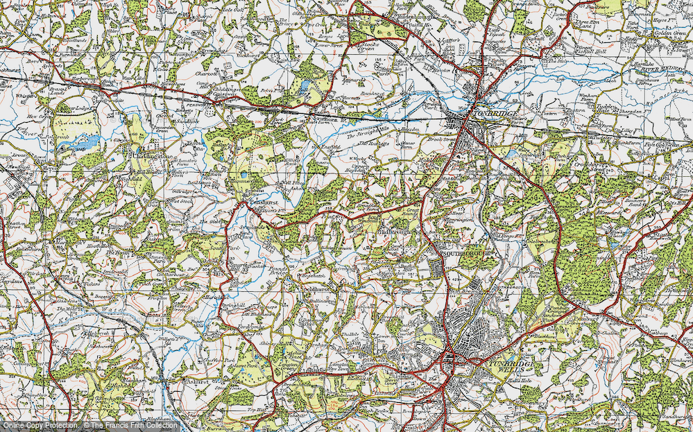 Old Map of Historic Map covering Ashour Wood in 1920