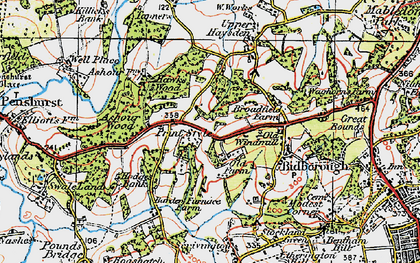 Old map of Ashour Wood in 1920
