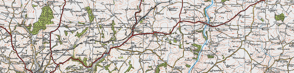 Old map of Probus in 1919