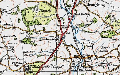 Old map of Puckeridge in 1919