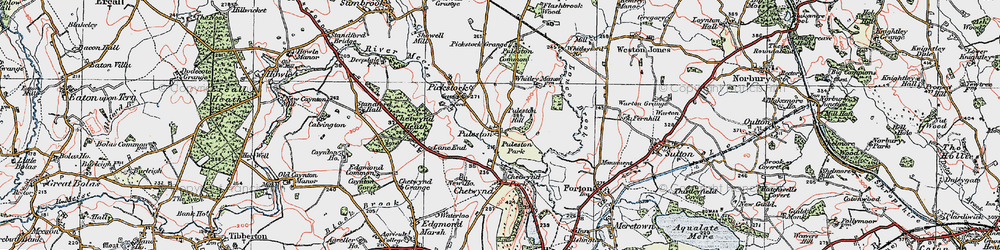 Old map of Whitleyford Br in 1921